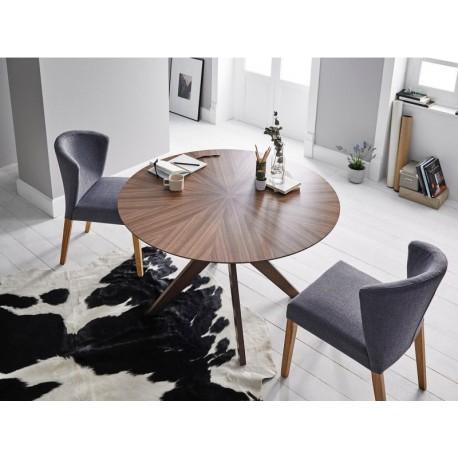 Mesa de comedor redonda en acabado de roble o de nogal de 120 cms