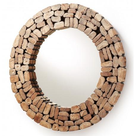 espejo redondo ellipse con el marco de trozos de madera de
