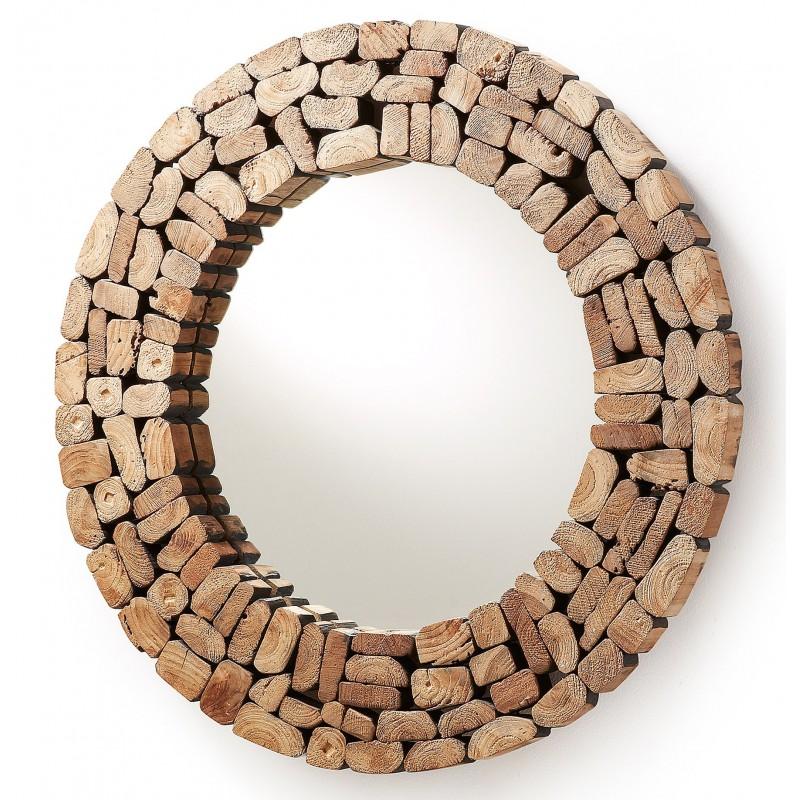 Espejo redondo ellipse con el marco de trozos de madera de for Espejos de pared con marco de madera