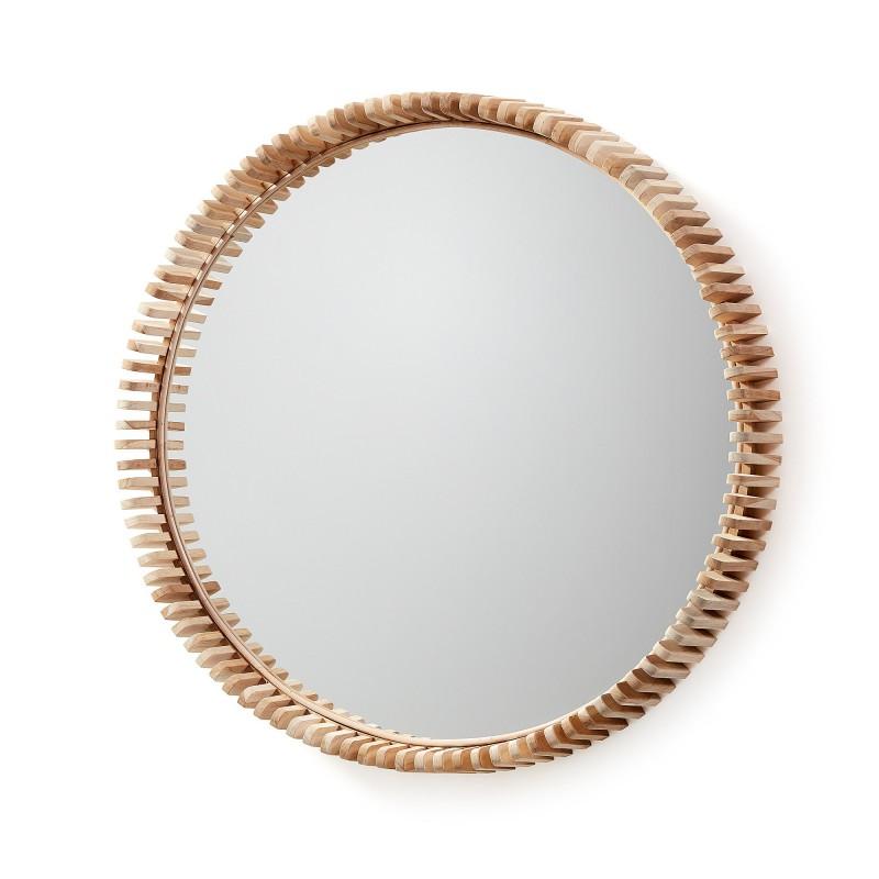 Espejo redondo porter con marco fabricado en madera de for Espejo redondo con marco