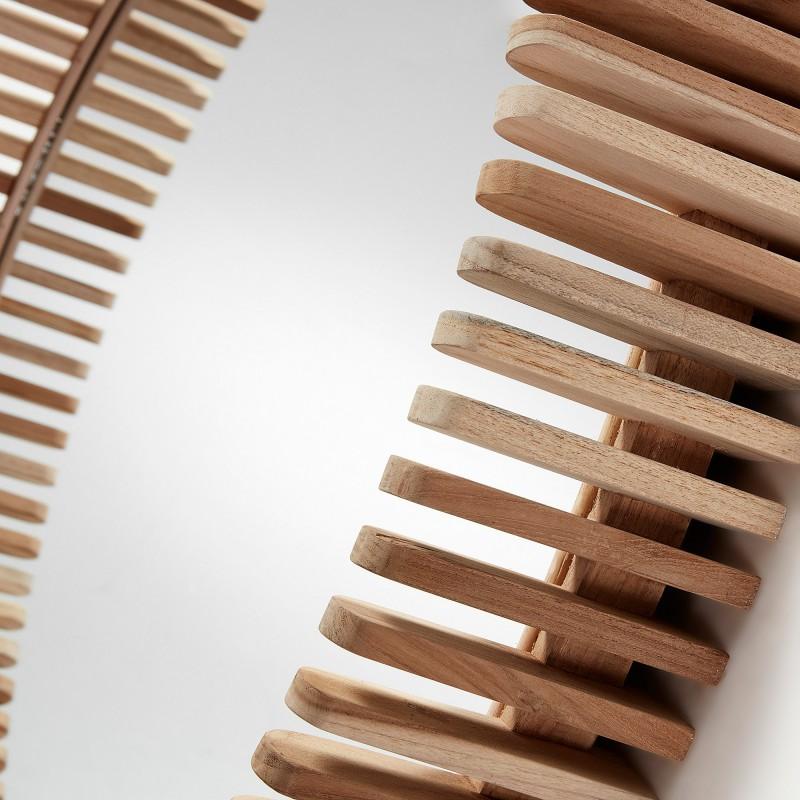 Espejo redondo porter con marco fabricado en madera de for Espejos redondos con marco de madera