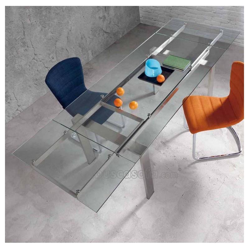 Mesa de comedor extensible corona tienda de muebles on line for Mesas de comedor cristal transparente
