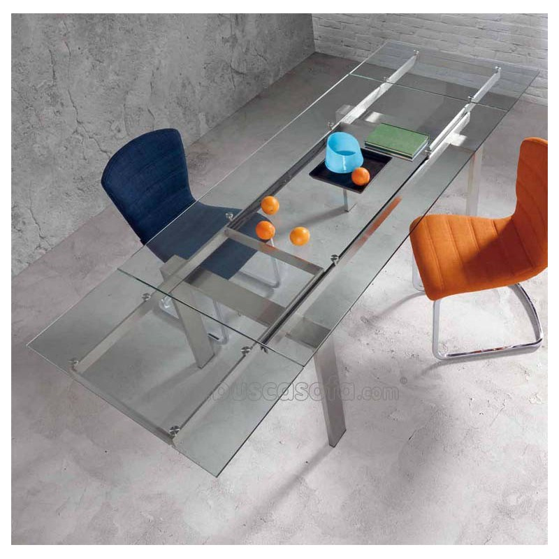Mesa de comedor extensible corona tienda de muebles on line for Mesas de cristal extensibles para comedor