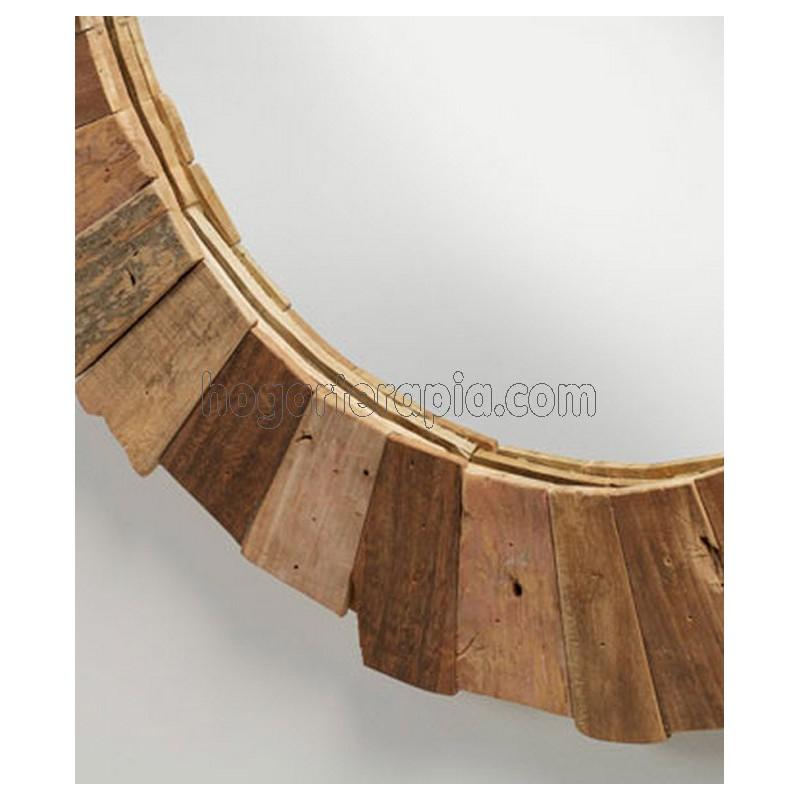 espejo redondo nedmac de madera de teca reciclada de