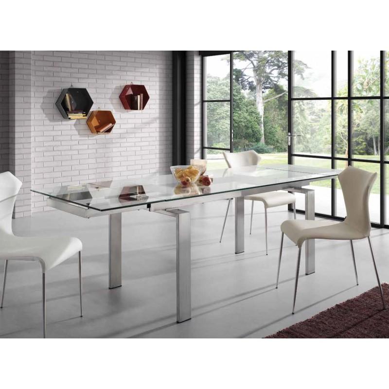 Mesa de comedor extensible corona tienda de muebles on line for Mesa cristal extensible