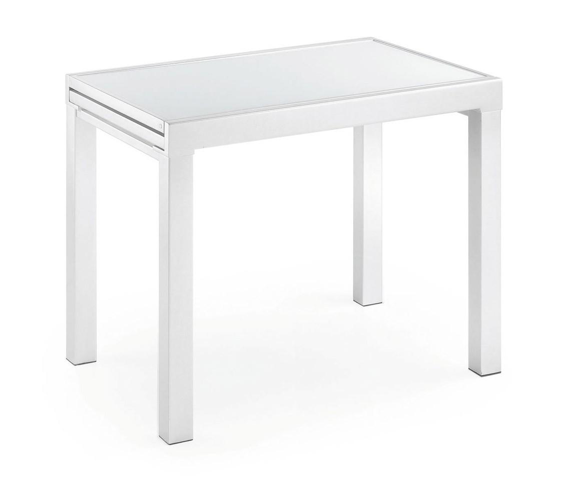 Estructura blanca y cristal blanco de 90-180 x 65 cm.