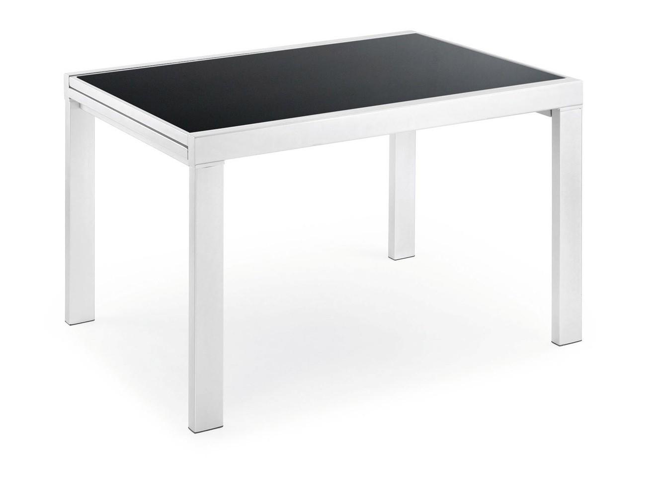 Estructura blanca y cristal negro de 120-240 x 90 cm.