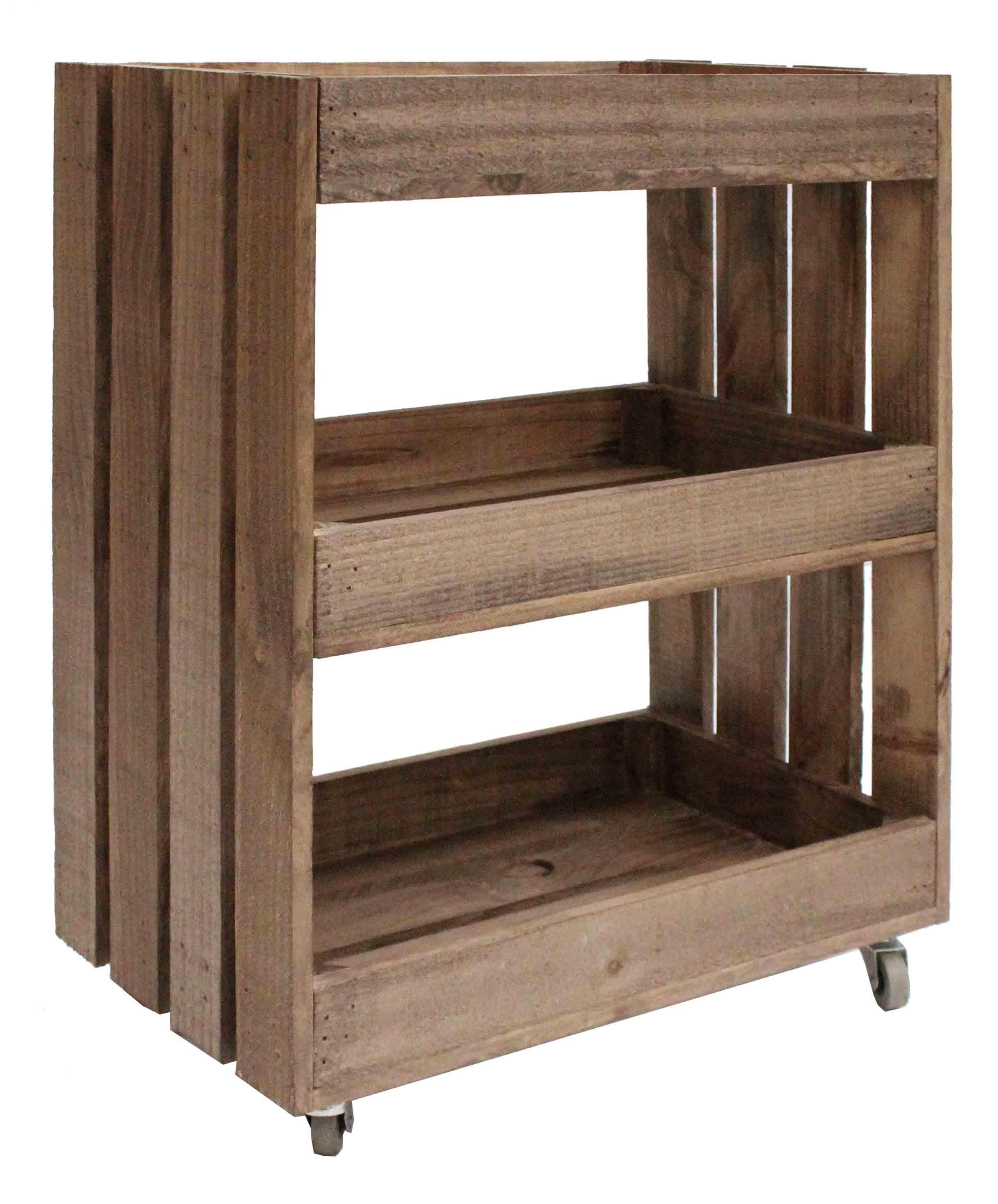 Mueble auxiliar con ruedas de madera de pino - Ruedas para mueble ...