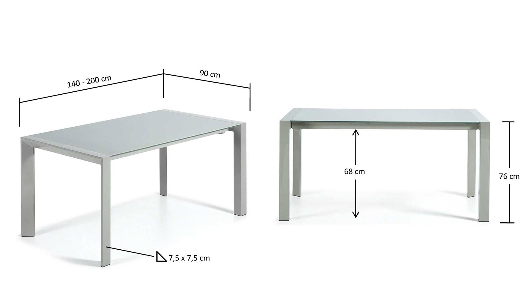 140-200 x 90 cm. y 76 cm. de altura