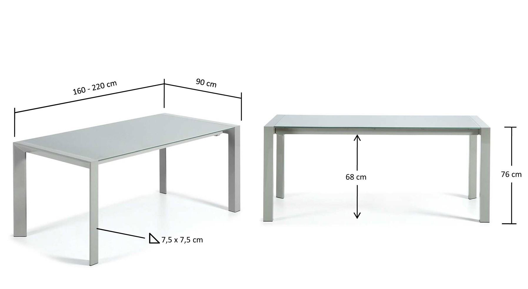 160-220 x 90 cm. y 76 cm. de altura
