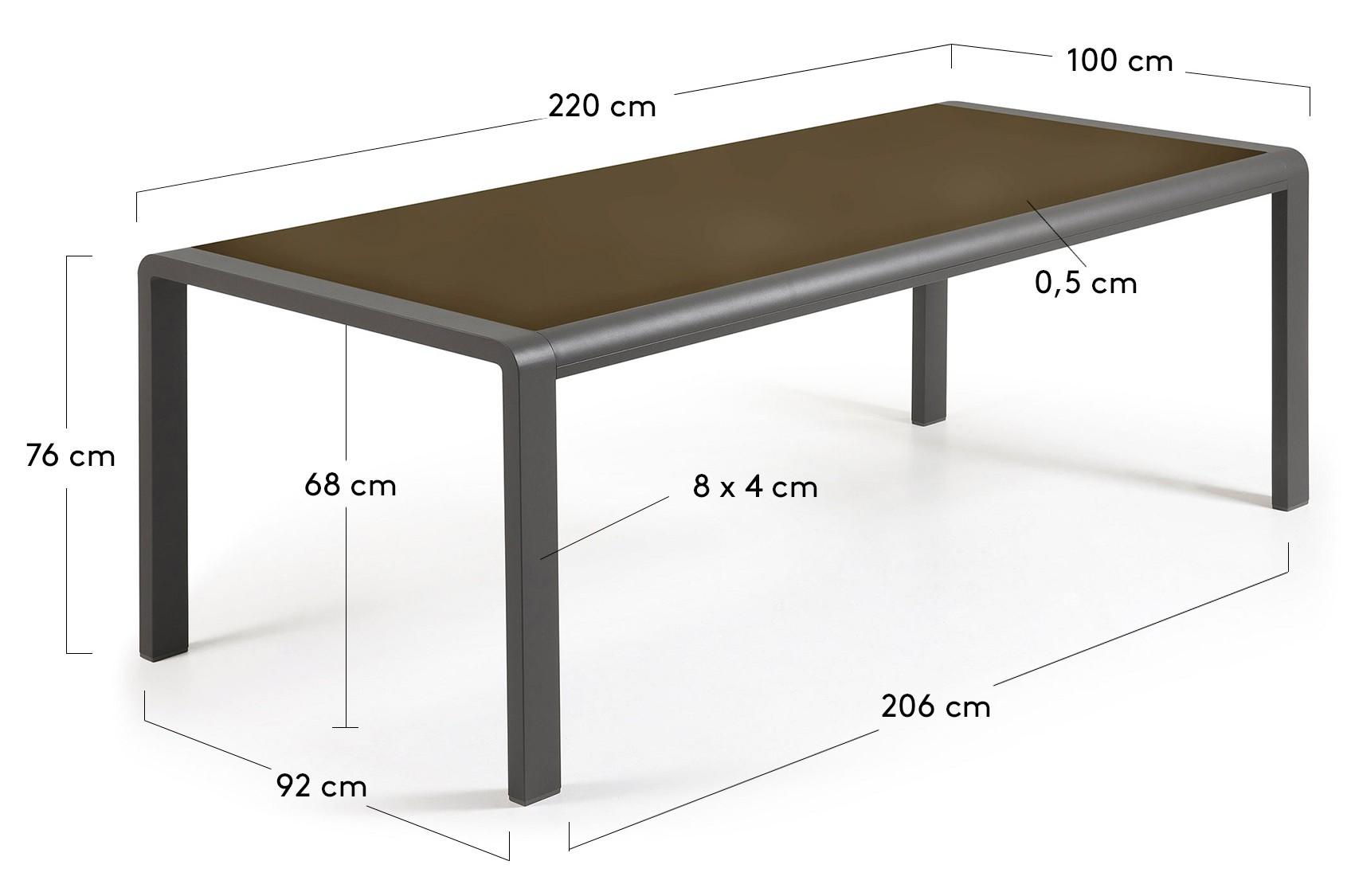 220 X 100 cm.
